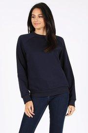 Basic plain solid fleece crewneck sweatshirt.