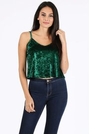 Crushed velvet solid crop camisole tank.