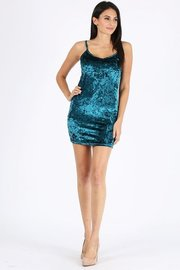 Crushed velvet solid bodycon mini dress.