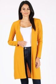 Ribbed open front long cardigan.
