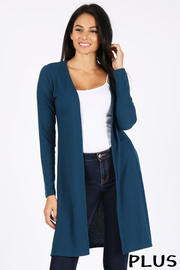Plus Size Ribbed open front long cardigan.