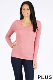 Plus Size Basic solid V-neck long sleeve waffle knit thermal top.