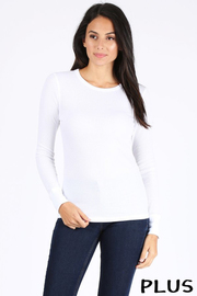 Plus Size Basic solid round neck long sleeve waffle knit etermal top.