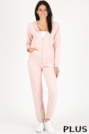 Plus Size Basic plain solid french terry full zip hoodie and sweatpants set.