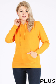 Plus Size Basic plain solid french terry pullover hoodie sweatshirt.