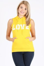 French terry sleeveless hoodie with love print.