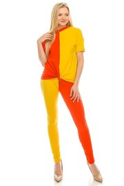 Color Block cotton lycra set.