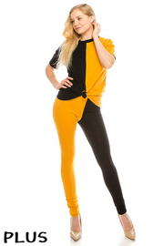 Plus Size Color Block cotton lycra set.