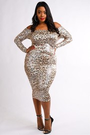 Plus Size Off shoulder midi dress.