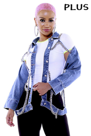 Plus Size Chian denim jacket.