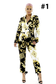 2 Piece Print jacket and pants.