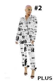 Plus Size 2 Piece Print jacket and pants.