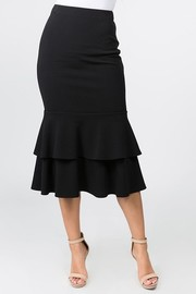 Tiered mermaid midi skirt.