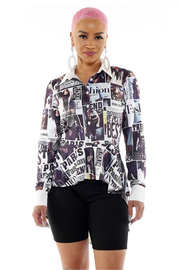 Long sleeve high-low graphic buton front shirt.