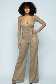 Lace corset polkadot lace sleeve bodysuit & pants set.