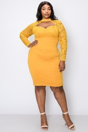 Plus Size Lace long sleeve top with matching solid skirt bodycon dress.