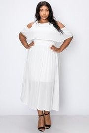 Plus Size Cold shoulder ruffle short sleeve, waist elastic a line midi dress.