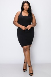 Plus Size Cotton span sleeveless round neck bodycon basic dress.