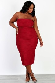 Plus Size Jacquard tube bodcon dress.
