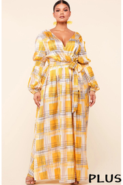 Plus Size Yellow abstract plaid print surplice maxi dress.