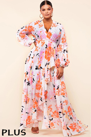 Plus Size Blooming floral print maxi dress.