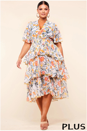 Plus Size Floral print midi dress with flutter sleeves.