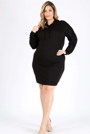 Plus Size Solid bodycon sweater dress with a hood and front pocket.