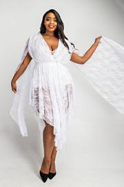 Plus Size Cape sleeve surplice dress.