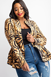 Plus Size Zebra print top with zip up closure and a layered trim.
