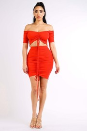 Ribbed off shoulder top & skirt set.
