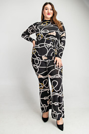 Plus Size Long slv tie front top & flare pants set.