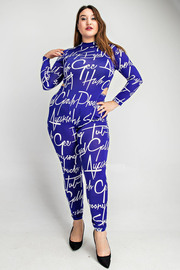 Plus Size Long sleeve mock neck bodysuit and leggings set.