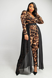 Plus Size Long sleeve leopard jumpsuit with contrast maxi skirt.