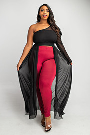 Plus Size One shoulder pleated puff sleeve maxi top.