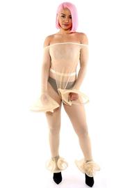 Mesh off shoulder bodysuit & mesh leggings 2 piece set.