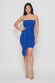 Double layered tube dress with front tie.
