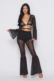 Flared mesh wrap around top and pants set.