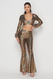 Holographic crop tpo and flare pants set.