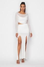 Mesh top and double slit skirt set.