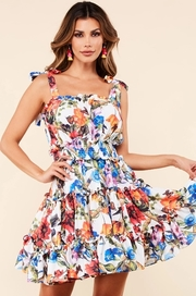 Garden print midi dress with ruffle details.
