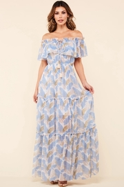 Print off the shoulder maxi dress with flounce detail and drawstring at the neckline.