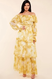Yellow marble print off the shoulder maxi dress.