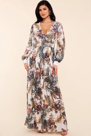 Tropical flower print surplice maxi dress