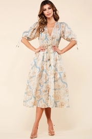 Vintage flower and blu leaves print midi dress.