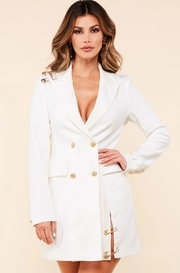 White blazer dress with a double breasted front gold tone lion embossed buttons.