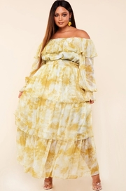 Plus Size Yellow marble print off the shoulder maxi dress with smocked waist band.