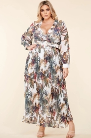 Plus Size Tropical flower print surplice maxi dress.