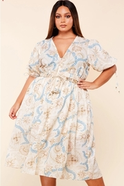 Plus Size Vintage flower and blue leaves print midi dress.