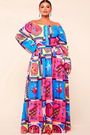 Plus Size Dancing couples print in vibrant color maxi dress.