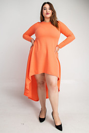 Plus Size Long sleeve simple hi-lo dress.